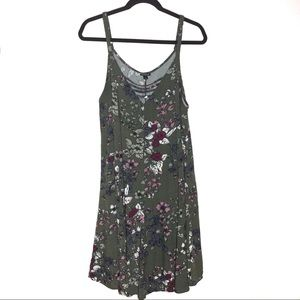 Olive Green Floral Challis Strappy Dress Size 2